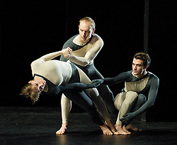 Nearly Ninety<br /> The Merce Cunningham Dance Company <br /> choreography by Merce Cunningham<br /> at The Barbican Theatre, London, Great Britain <br /> rehesrsal <br /> 26th October 2010 <br /> <br /> <br /> <br /> <br /> John Hinrichs<br /> <br /> Jamie Scott<br /> <br /> Silas Riener<br /> <br /> <br /> <br /> Photograph by Elliott Franks<br /> 2010©Elliott Franks