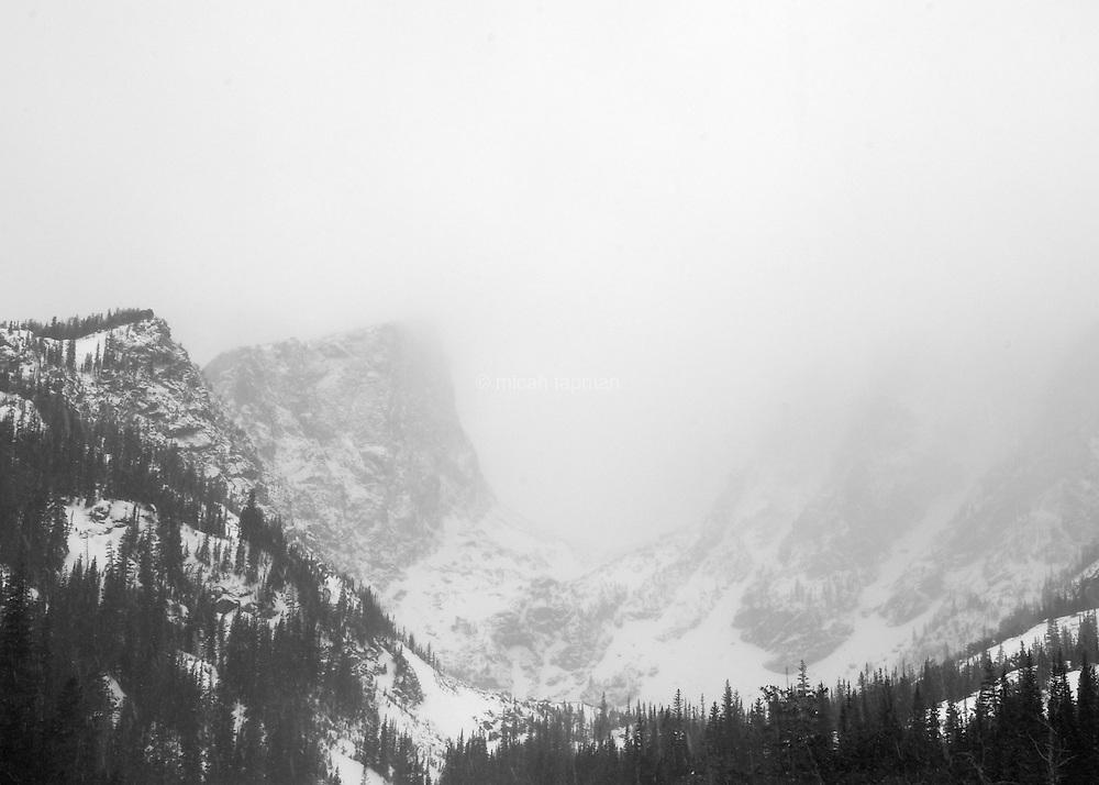 Winter storm over Dream Lake in Rocky Mountain National Park.