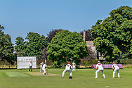 Etal, Cornhill-on-Tweed, Northumberland, England, UK. 28th August 2021. Tillside CC host Bedlington CC on their picturesque ground at Etal village in the Northumberland Saturday league.