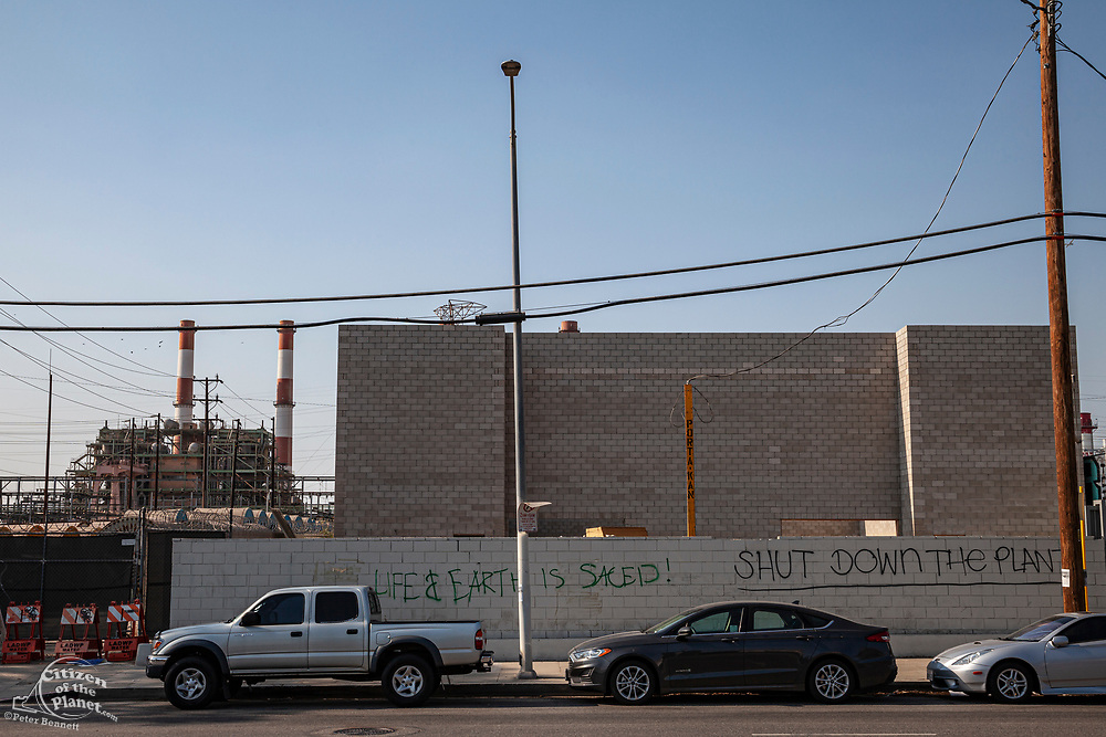 Graffiti outside the entracne to the The Valley Generating Station which has been reported to have been leaking methane since 2019. The plant is a natural gas-fired power station located in Sun Valley, Los Angeles County, Califoirnia, USA