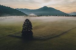 THEMENBILD - Bodennebel über der Landschaft bei Sonnenaufgang, aufgenommen am 26. Juli 2019 in Kaprun, Österreich // Ground fog over the landscape at sunrise, Kaprun, Austria on 2019/07/26. EXPA Pictures © 2019, PhotoCredit: EXPA/ JFK