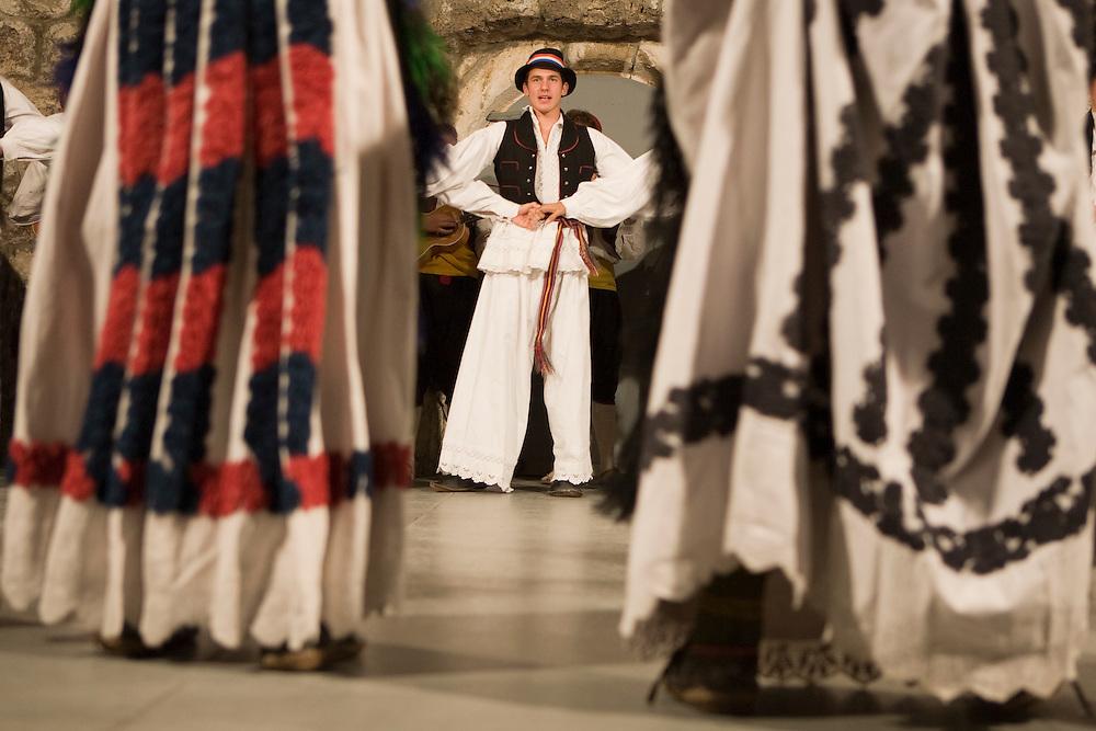 Europe, Croatia, Dalmatia, Dubrovnik.  Folk dancers in traditional costumes.NMR