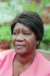Older woman looking serious,
