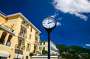 Hotel and clock on the promenade, Monterosso al Mare, Cinque Terre, Liguria, Italy
