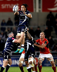 TJ Ioane of Sale Sharks catches the ball from the line out - Mandatory by-line: Robbie Stephenson/JMP - 18/12/2016 - RUGBY - AJ Bell Stadium - Sale, England - Sale Sharks v Saracens - European Champions Cup