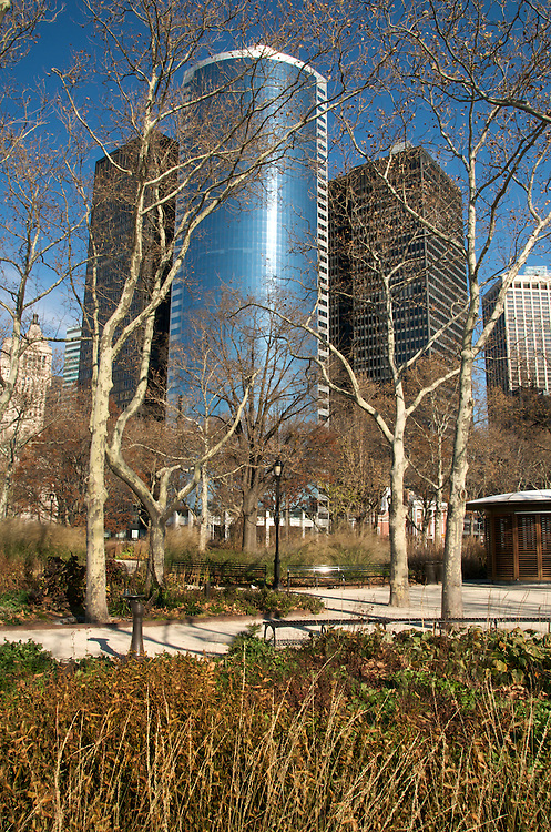 Battery Park boardwalk in New York City at winter.  Battery Park is a very popular tourist destination in New York.