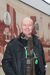 Irvine Welsh unveiling a 22 foot by 10 foot mural at Leith Dockers Club.<br /> © Michael Schofield.