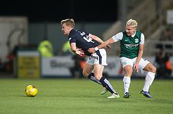 Falkirk's Paul watson and Hibernian's Jason Cummings. Falkirk 0 v 1 Hibernian, Scottish Championship game played 20/10/2015 at The Falkirk Stadium.