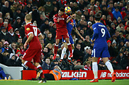 Alex Oxlade-Chamberlain of Liverpool and Davide Zappacosta of Chelsea jump for the ball. Premier League match, Liverpool v Chelsea at the Anfield stadium in Liverpool, Merseyside on Saturday 25th November 2017.<br /> pic by Chris Stading, Andrew Orchard sports photography.