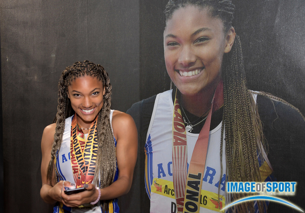 Apr 8, 2017; Arcadia, CA, USA; Tara Davis of Agoura poses after being selected as the girls field athlete of the meet during the 50th Arcadia Invitational at Arcadia High. Mandatory Credit: Kirby Lee-USA TODAY Sports