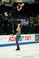 KELOWNA, BC - OCTOBER 24: Russian figure skaters Evgenia Tarasova and Vladimir Morozov warm up on the ice during pairs practice of Skate Canada International at Prospera Place on October 24, 2019 in Kelowna, Canada. (Photo by Marissa Baecker/Shoot the Breeze)