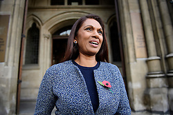 © Licensed to London News Pictures. 03/11/2016. London, UK. Campaigner GINA MILLER smiling as she leaves the High Court after a ruling was announced on her Brexit legal challenge. Ms Miller and other campaigners launched a legal challenge, after the EU referendum result, to force the government to seek Parliamentary approval before Brexit negotiations begin. Photo credit: Ben Cawthra/LNP