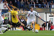 Bury's Danny Mayor makes a break through the defence before shooting just wide. Skybet football league two match, Bury v Burton Albion at the JD Stadium, Gigg Lane in Bury, Lancs on Saturday 20th Sept 2014.<br /> pic by David Richards,  Andrew Orchard sports photography.