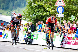 Diego ULISSI of UAE TEAM EMIRATES and Matej MOHORIC of BAHRAIN VICTORIOUS during 2nd Stage of 27th Tour of Slovenia 2021 cycling race between Zalec and Celje (147 km), on June 10, 2021 in Slovenia. Photo by Matic Klansek Velej / Sportida