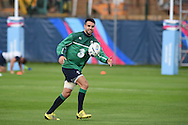 Conor Murray of Ireland in action during the Ireland rugby team training at Newport High School in Newport , South Wales on Wed 7th October 2015.the team are preparing for their next RWC match against France this weekend.<br /> pic by  Andrew Orchard, Andrew Orchard sports photography.
