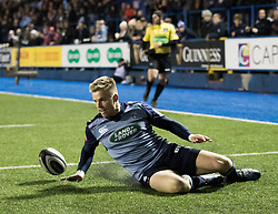 Cardiff Blues' Gareth Anscombe touches down but the try is not awarded<br /> <br /> Photographer Simon King/Replay Images<br /> <br /> Guinness Pro14 Round 9 - Cardiff Blues v Connacht Rugby - Friday 24th November 2017 - Cardiff Arms Park - Cardiff<br /> <br /> World Copyright © 2017 Replay Images. All rights reserved. info@replayimages.co.uk - www.replayimages.co.uk