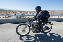 Harley-Davidson Museum Archive Restorer/Conservator Bill Rodencal of Wisconsin on his 1915 Harley-Davidson during the Motorcycle Cannonball Race of the Century. Stage-14 ride from Lake Havasu CIty, AZ to Palm Desert, CA. USA. Saturday September 24, 2016. Photography ©2016 Michael Lichter.