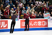 KELOWNA, BC - OCTOBER 27: Mens long program gold medalist, Japanese skater Yuzuru Hanyu (c), silver medalist, Canadian figure skater Nam Nguyen (l) and bronze medalist, Japanese skater Keiji Tanaka (r) stand on the ice at Prospera Place on October 27, 2019 in Kelowna, Canada. (Photo by Marissa Baecker/Shoot the Breeze)