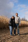"""Randy and Kerry Wokatsch stand on their farm in Marathon, WI, Monday November 11, 2019. They grow corn and ginseng, but in September they had to stop dairy farming. Selling the majority of his cows was """"more emotional and gut-wrenching"""" than he expected."""
