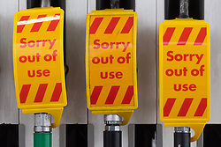 © Licensed to London News Pictures. 27/09/2021. London, UK. Closed file pumps at a BP petrol station in West London. The petrol station is closed due to problems with the supply and distribution chain. This has also prompted panic buying by motorists in the last few days. Companies including BP and Shell have restricted deliveries due to the lack of HGV drivers. Photo credit: Ray Tang/LNP