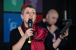 © Licensed to London News Pictures . 23/09/2018. Liverpool, UK. Rabbi LAURA JANNER-KLAUSNER at a rally by The Jewish Labour Movement at The Liverpool Pub in central Liverpool during the first day of the 2018 Labour Party Conference . Photo credit: Joel Goodman/LNP
