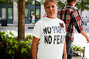 BIRMINGHAM, AL –SEPTEMBER 16, 2012: Undocumented Hispanic immigrants gather to protest the civil rights effects of state immigration law HB-56.