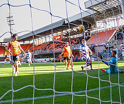 Morton's keeper Danny Rogers can't stop Dundee United's Lawrence Shankland's scoring their fourth goal, and this hatrick. Dundee United 6 v 0 Morton, Scottish Championship game played 28/9/2019 at Dundee United's stadium Tannadice Park.
