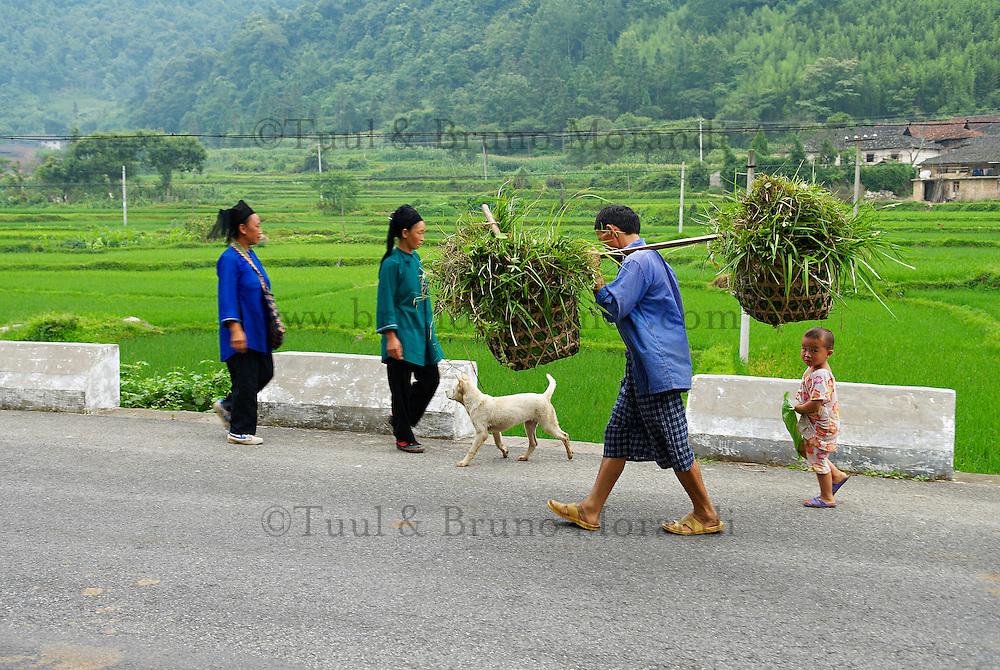 Chine. Province du Guizhou. Village d'ethnie Shui dans les environs de Libo. // China. Guizhou province. Shui ethnic group in the village around Libo.