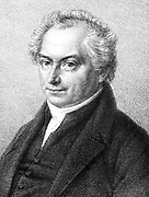 Heinrich Wilhelm Mathias Olbers (1758-1840), German astronomer and physician. [1864].  Olbers was founder member of the astronomers called the 'Celestial Police' who searched for a suppposed missing planet. In 1826 he put forward Olbers' paradox, the question that if the universe is infinite and full of stars, why is the sky dark at night?.   He also did much work on comets.  From 'Bahn eines Cometen zu berechnen' Heinrich Olbers, (Leipzig, 1864). Lithograph.