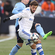 NEW YORK, NEW YORK - March 18:  Hernan Bernardello #30 of Montreal Impact is challenged by Alexander Ring #8 of New York City FC  during the New York City FC Vs Montreal Impact regular season MLS game at Yankee Stadium on March 18, 2017 in New York City. (Photo by Tim Clayton/Corbis via Getty Images)