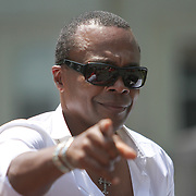 Sugar Ray Leonard waves during the 23rd Annual Induction citywide parade at the International Boxing Hall of Fame on Sunday, June 10, 2012 in Canastota, NY. (AP Photo/Alex Menendez)