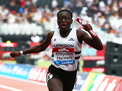 July 22, 2018 - London, United Kingdom - Croydon Harriers celebrates winning the 4 x 100m Relay Girls.during the Muller Anniversary Games IAAF Diamond League Day Two at The London Stadium on July 22, 2018 in London, England. (Credit Image: © Action Foto Sport/NurPhoto via ZUMA Press)