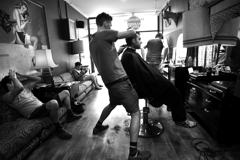 Old School barber are back, Dr Folicles Barbers in Gertrude Street Fitzroy  Pic By Craig Sillitoe melbourne photographers, commercial photographers, industrial photographers, corporate photographer, architectural photographers, This photograph can be used for non commercial uses with attribution. Credit: Craig Sillitoe Photography / http://www.csillitoe.com<br /> <br /> It is protected under the Creative Commons Attribution-NonCommercial-ShareAlike 4.0 International License. To view a copy of this license, visit http://creativecommons.org/licenses/by-nc-sa/4.0/.
