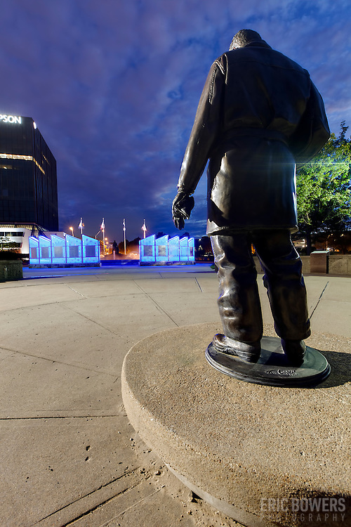 Firefighters Memorial and Fountain in Kansas City, Missouri at 31st & Broadway. Memorial tribute to Kansas City firefighters who died in line of duty.