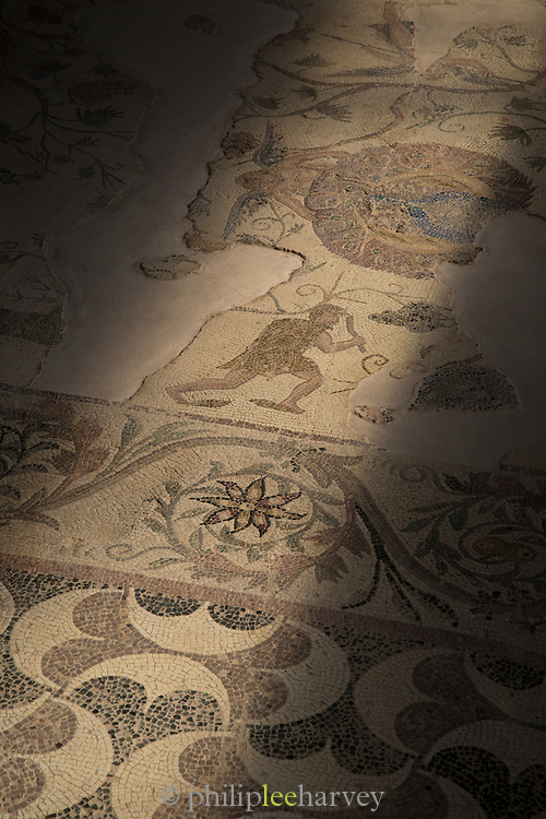 Mosaic in the archaeological park captured from low angle, Paphos, Cyprus