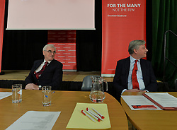 Pictured: John McDonnell and Richard Leonard before his speech in Airdrie.<br /> <br /> Labour shadow Chancellor John McDonnell gave an important speech to the 'Road to Rebuilding the Economy' conference in Airdrie on Saturday, along with Scottish Labour leader Richard Leonard.<br /> <br /> © Dave Johnston / EEm