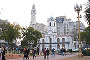 The Cabildo on the Plaza de Mayo May Square, people and pigeons on the square, What used to be the seat of the government and is now a museum. Buenos Aires Argentina, South America