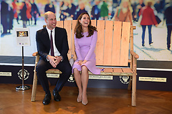 October 9, 2018 - London, UK - The Duke and Duchess of Cambridge sit on the Friendship Bench during the Global Ministerial Mental Health Summit at County Hall in London. (Credit Image: © Eddie Mulholland/PA Wire via ZUMA Press)