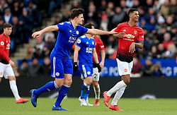 Leicester City's Harry Maguire (left) pushes Manchester United's Marcus Rashford as he leaves the pitch after being substituted for Romelu Lukaku during the Premier League match at the King Power Stadium, Leicester.