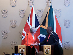 SOUTH AFRICA. Cape Town. 28.08.18. UK Prime Minister Theresa May and South African President Cyril Ramaphosa addressing the media at Tuynhuys after a joint meeting between the Trade Ministers of the United Kingdom (UK), Southern African Customs Union Member States (SACU) and Mozambique on a future joint economic partnershIp agreement (EPA). Picture:Ian Landsberg/African News Agency (ANA)