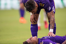 May 6, 2018 - Orlando, FL, U.S. - ORLANDO, FL - MAY 06: Orlando City forward Dom Dwyer (14) looks after Orlando City midfielder Cristian Higuita (7) during the soccer match between the Orlando City Lions and Real Salt Lake on May 6, 2018 at Orlando City Stadium in Orlando FL. Photo by Joe Petro/Icon Sportswire) (Credit Image: © Joe Petro/Icon SMI via ZUMA Press)