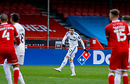 Leeds United forward Sam Greenwood (42) has a shot  during the The FA Cup match between Crawley Town and Leeds United at The People's Pension Stadium, Crawley, England on 10 January 2021.