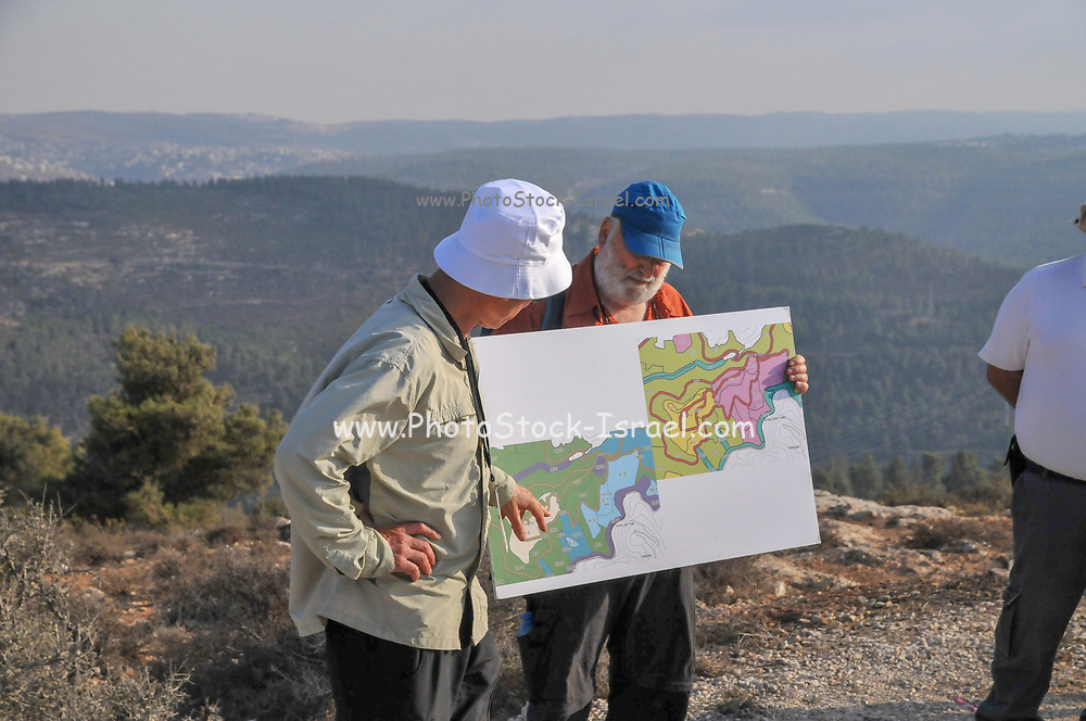 University students on a field trip in the Judean Hills, Near Jerusalem, Israel