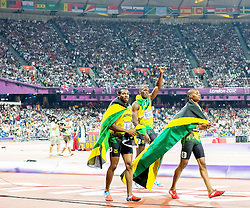 09.08.2012, Olympia Stadion, London, GBR, Olympia 2012, Leichtathletik, im Bild YOHAN BLAKE 4 USAIN BOLT 7 WARREN WEIR 8 // during Athletics, at the 2012 Summer Olympics at the Olympic Stadium, London, United Kingdom on 2012/08/09. EXPA Pictures © 2012, PhotoCredit: EXPA/ Newspix/ Sebastian Borowski..***** ATTENTION - for AUT, SLO, CRO, SRB, SUI and SWE only *****