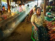 21 NOVEMBER 2017 - PANTANAW, AYEYARWADY REGION, MYANMAR: Early morning light in the market in Pantanaw, a town near Pathien in the Ayeyarwady delta.    PHOTO BY JACK KURTZ