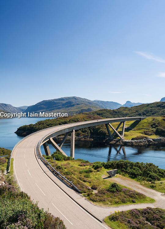View of Kylesku Bridge on North Coast 500 tourist route in Sutherland, Highland, Scotland , United Kingdom,