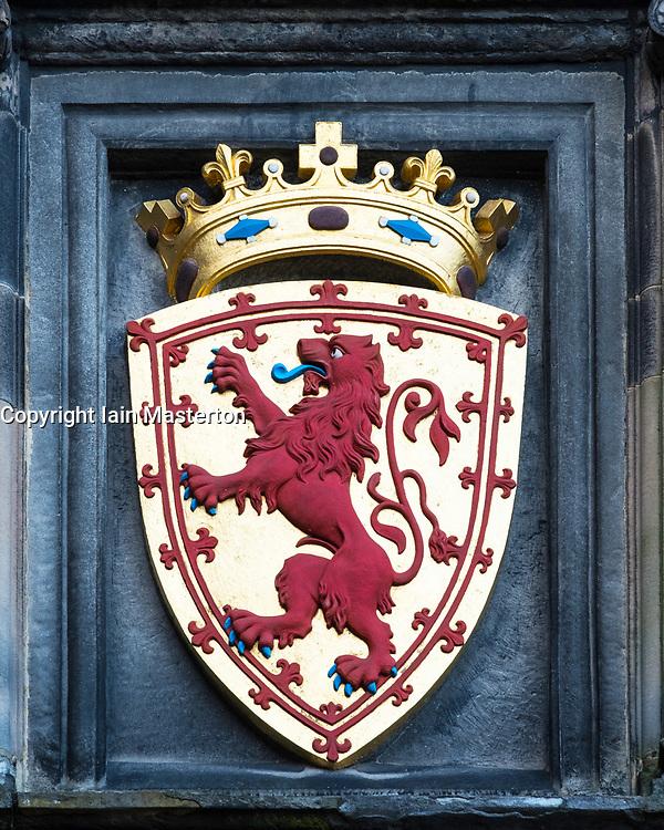 Coat of Arms on wall at Edinburgh Castle in Edinburgh, Scotland, United Kingdom
