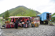 Souvenir Stall at the confluence of two streams on the Caucasus Mountains, Georgia
