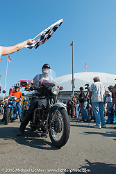 Mike Bell riding his 1923 Harley-Davidson J over the finish line at the end of Stage 16 (142 miles) of the Motorcycle Cannonball Cross-Country Endurance Run, which on this day ran from Yakima to Tacoma, WA, USA. Sunday, September 21, 2014.  Photography ©2014 Michael Lichter.