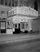 Y-500721A-02.  Guild theatre. Film is Charlie Chaplin in City Lights. Location on SW 9th, corner Salmon. July 21, 1950.